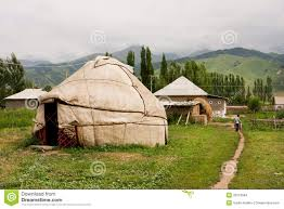 children go away past central asian yurt village house editorial