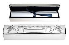 Wedding Certificate Holder Silver Plated Tubular Wedding Certificate Holder By Haysom