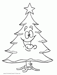 christmas tree drawing outline kids coloring