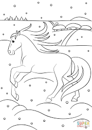winter horse coloring page free printable coloring pages