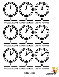 clock colouring sheets of minutes 12 00 12 09 at yescoloring