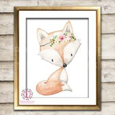 fox home decor boho watrcolor fox woodland bohemian floral nursery baby room