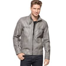 mens leather moto jacket calvin klein faux leather moto jacket in gray for men lyst