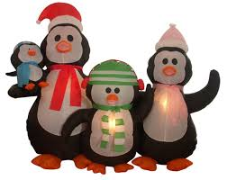 Penguin Christmas Decorations Outdoor by Amazon Com 5 U0027 Airblown Inflatable Penguin Family Lighted