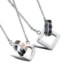 s day jewelry for 2pcs set stainless steel pendant necklace