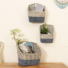 wall laundry hamper set of 3 wall mounted wicker storage baskets