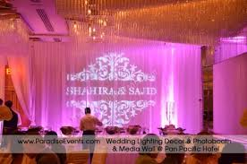 wedding backdrop rental vancouver monogram gobo lights for wedding decor in vancouver bcdecor