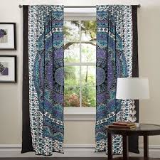 Indian Curtain Fabric Blue Tapestry Drapes Window Treatment Bohemian Set Mandala