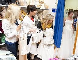 wedding dress donation bargain brides flock to charity shop selling mystery