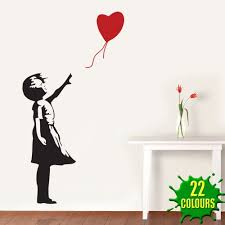 banksy heart balloon girl wall decal sticker lounge living room banksy heart balloon girl wall decal sticker lounge living room bedroom small amazon co uk kitchen home
