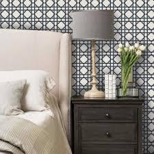 geometric wallpaper dark navy peel and stick