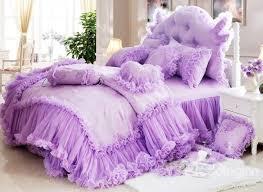 Pure Cotton Duvet Covers Cinderella Total Lace Trim Pure Color Cotton Bedding Sets Duvet