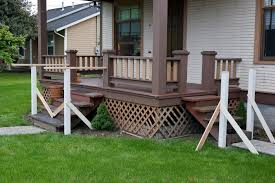 incredible image of front porch decoration using lattice wooden