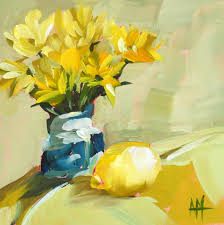yellow flowers in blue vase and lemon still life painting