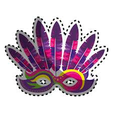 mask with feathers sticker colored venetian carnival mask with feathers stock vector