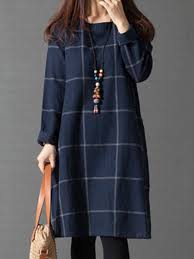 casual dress navy blue checkered plaid casual crew neck casual dress