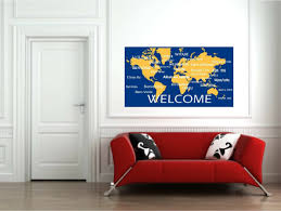 welcome wall decals in international languagesworld map wall