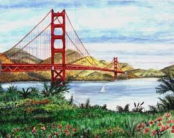 golden gate painting etsy