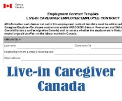 how to write employment contract for live in caregivers in canada