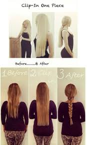 Before After Hair Extensions by Full Hair Pieces All Colors One Piece Clip In Remy 100 Human Hair
