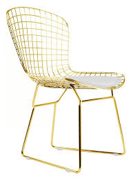 Gold Dining Chairs Bertoia Style Side Chair In Gold Finish White Pad