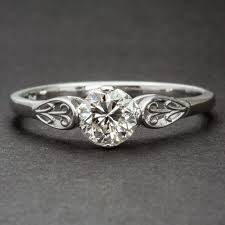 custom floral engagement ring art deco vintage style solitaire by