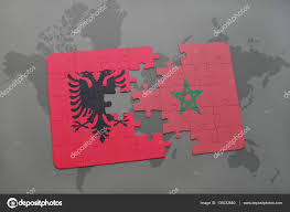 Morocco On World Map by Puzzle With The National Flag Of Albania And Morocco On A World