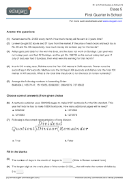 class 5 math worksheets and problems first quarter in