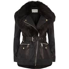 river island black faux fur shawl belted coat in black lyst