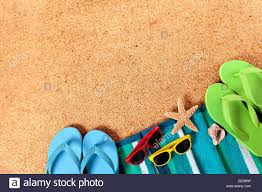 seashell flip flops summer background of towel starfish seashell flip flops