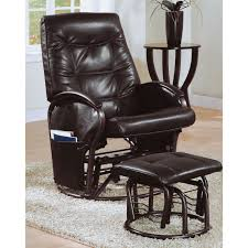 Leather Rocker Recliner Monarch Faux Leather Swivel Rocker Recliner With Ottoman Walmart Com