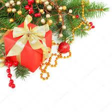 christmas border with xmas tree gift and gdecoration u2014 stock