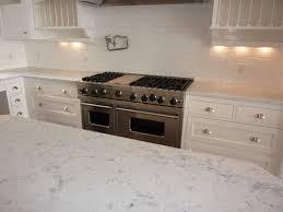 Carrara Marble Subway Tile Kitchen Backsplash Simple Kitchen With Bianco Carrara Marble Countertops Half Moon