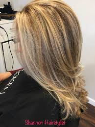 highlight and lowlight blonde with long layered haircut shannon