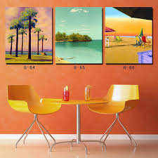Painting For Dining Room 3 Piece Canvas Wall Art Beach And Palm Tree Painting Canvas