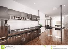 Modern Black Kitchen Modern Black Kitchen Interior 3d Render Royalty Free Stock Photos