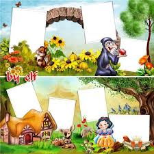 kids photo album children picture album with psd frames story with animals