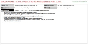 Resume For Flight Attendant Job by Automatic Car Wash Attendant Job Title Docs
