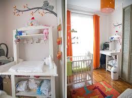 une chambre de bébé blanche orange et verte du peps et de la