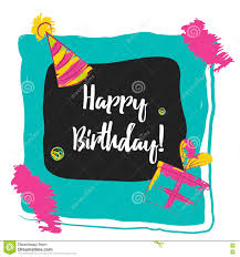happy birthday typography in photo frame concept image poster for