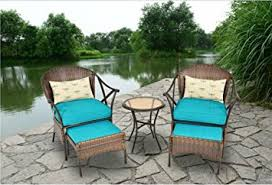 amazon com outdoor patio furniture 5 piece all weather wicker and