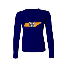 Tennesse Flag Tennessee Flag State Outline Orange Womens Long Sleeve T Shirt