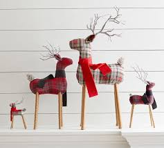 plaid reindeer ornament pottery barn