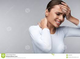 beautiful woman feeling sick having headache painful body pain