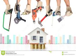 selection of tools in the shape of a house stock photo image