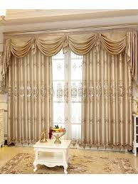 Yellow Faux Silk Curtains Baltic Embroidered Chagne Yellow Color Floral Waterfall And