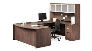 U Shaped Desk With Hutch Modern Walnut Right Return By Office - Office source furniture
