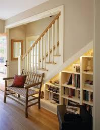 nice storage organization with under stair bookcase also modern