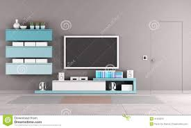 Livingroom Tv Colorful Living Room With Tv Stand Stock Illustration Image