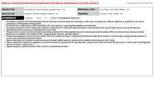 Field Service Technician Resume Sample by Lithographer Retoucher Job Title Docs